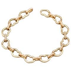 Aaron Basha Diamond and 18 Karat Rose Gold Heart Bracelet for Charms