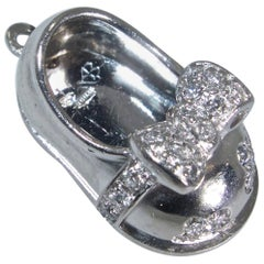 Aaron Basha Diamond and Platinum Baby Shoe Pendant