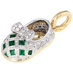 Aaron Basha Diamond Emerald Shoe Charm 18 Karat Gold Estate Gemstone Jewelry
