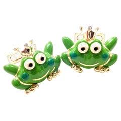 Aaron Basha Diamond Enamel Frog Prince White Gold Cufflinks