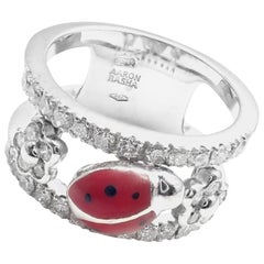 Aaron Basha Diamond Red Enamel Ladybug White Gold Band Ring
