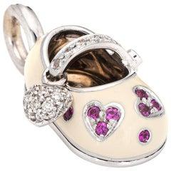Aaron Basha Diamond Ruby Shoe Charm Hearts 18 Karat White Gold Estate Pendant