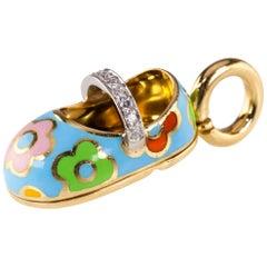 Aaron Basha Enamel and Diamond Baby Shoe Pendant in Yellow Gold