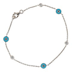 Aaron Basha Evil Eye 3 Diamond Bracelet Estate 18k White Gold by Yard Jewelry