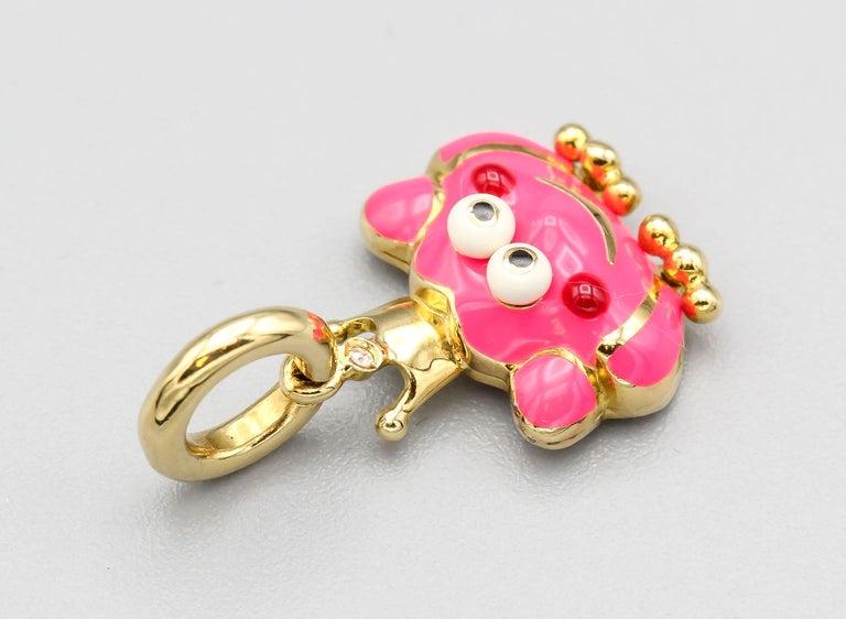 Round Cut Aaron Basha Frog Prince Diamond Enamel 18 Karat Gold Charm For Sale