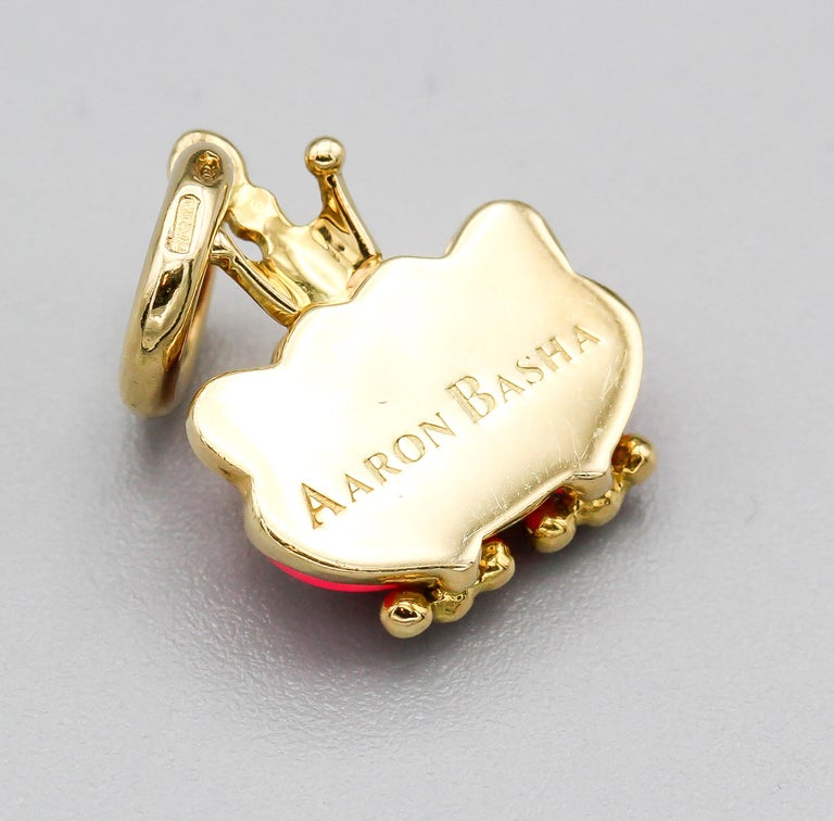 Aaron Basha Frog Prince Diamond Enamel 18 Karat Gold Charm In Excellent Condition For Sale In New York, NY