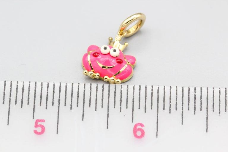 Women's Aaron Basha Frog Prince Diamond Enamel 18 Karat Gold Charm For Sale
