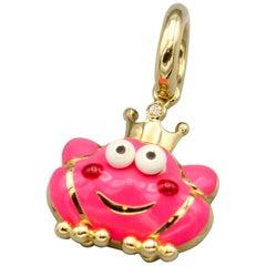 Aaron Basha Frog Prince Diamond Enamel 18 Karat Gold Charm