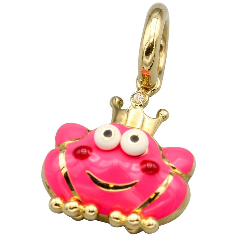 Aaron Basha Frog Prince Diamond Enamel 18 Karat Gold Charm For Sale