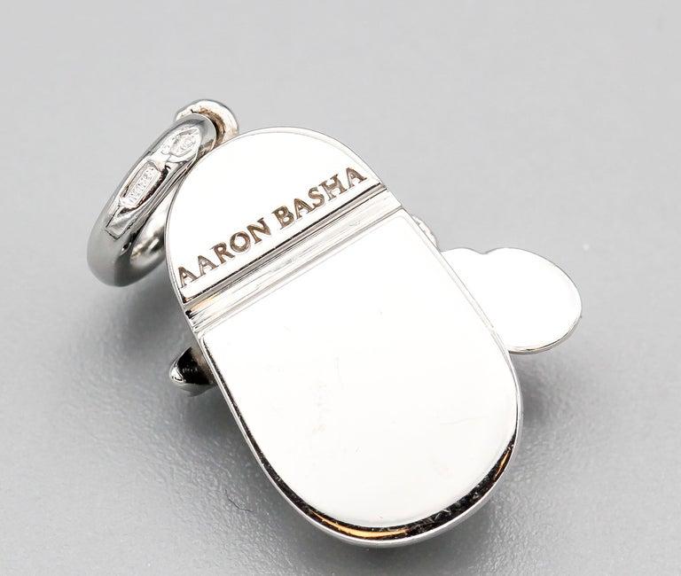Women's Aaron Basha Ladybug Diamond Polka Dot Enamel 18 Karat Gold Baby Girl Shoe Charm For Sale