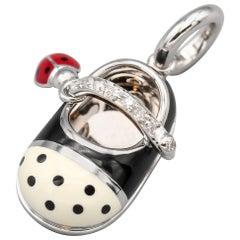 Aaron Basha Ladybug Diamond Polka Dot Enamel 18 Karat Gold Baby Girl Shoe Charm