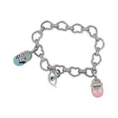 Aaron Basha Open Link Diamond Bracelet with Charms