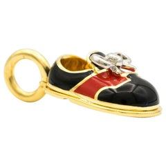 Aaron Basha Red Saddle Baby Shoe with Diamond Bow
