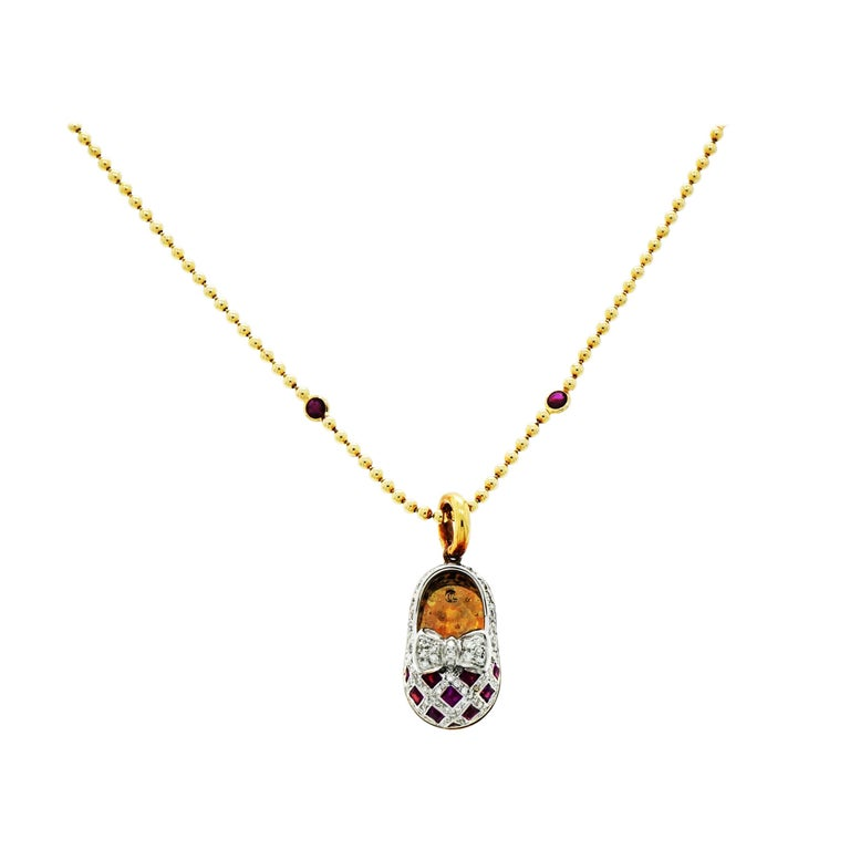 Aaron Basha Ruby and Diamond Baby Shoe 18 Karat Gold with YG Chain with Rubies For Sale