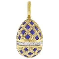 Aaron Basha Sapphire and Diamond Egg Charm Pendant