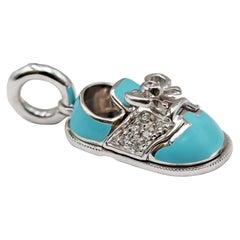 Aaron Basha White Gold, Enamel, and Diamond Baby Shoe Charm