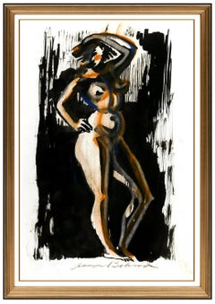 Aaron Bohrod Gouache Original Painting Signed Nude Figurative Illustration Art