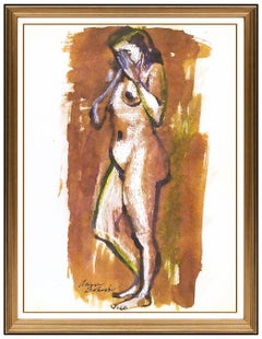 Aaron Bohrod Original Painting Signed Nude Female Figurative Illustration Art
