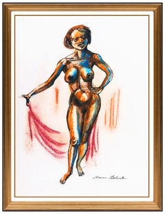 Aaron Bohrod Original Painting Signed Nude Female Nude Illustration Pastel Art