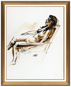 Aaron Bohrod Original Painting Signed Nude Female Portrait Illustration Artwork