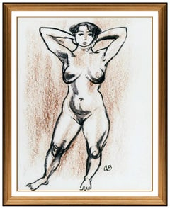 Aaron Bohrod Original Pastel Painting Signed Nude Female Figurative Framed Art