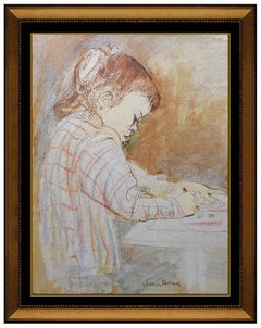 Aaron Bohrod Original Watercolor Painting Signed Child Portrait Framed Artwork