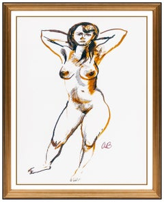 Aaron Bohrod Original Watercolor Painting Signed Nude Female Figurative Framed