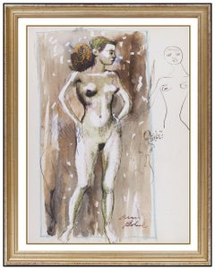 Aaron Bohrod Original Watercolor Painting Signed Nude Female Portrait Framed Art
