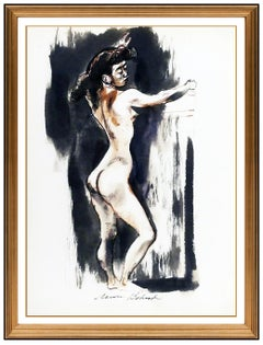 Aaron Bohrod Watercolor Painting Original Authentic Signed Nude Portrait Artwork