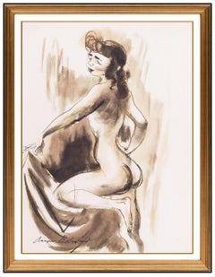 Aaron Bohrod Watercolor Painting Original Signed Female Modern Nude Illustration