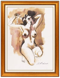 Aaron Bohrod Watercolor Painting Signed Female Woman Figurative Portrait Artwork