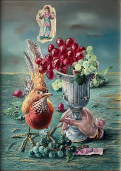 """Grapes with Asian Bird from Hong Kong,"" Aaron Bohrod Whimsical Still Life"