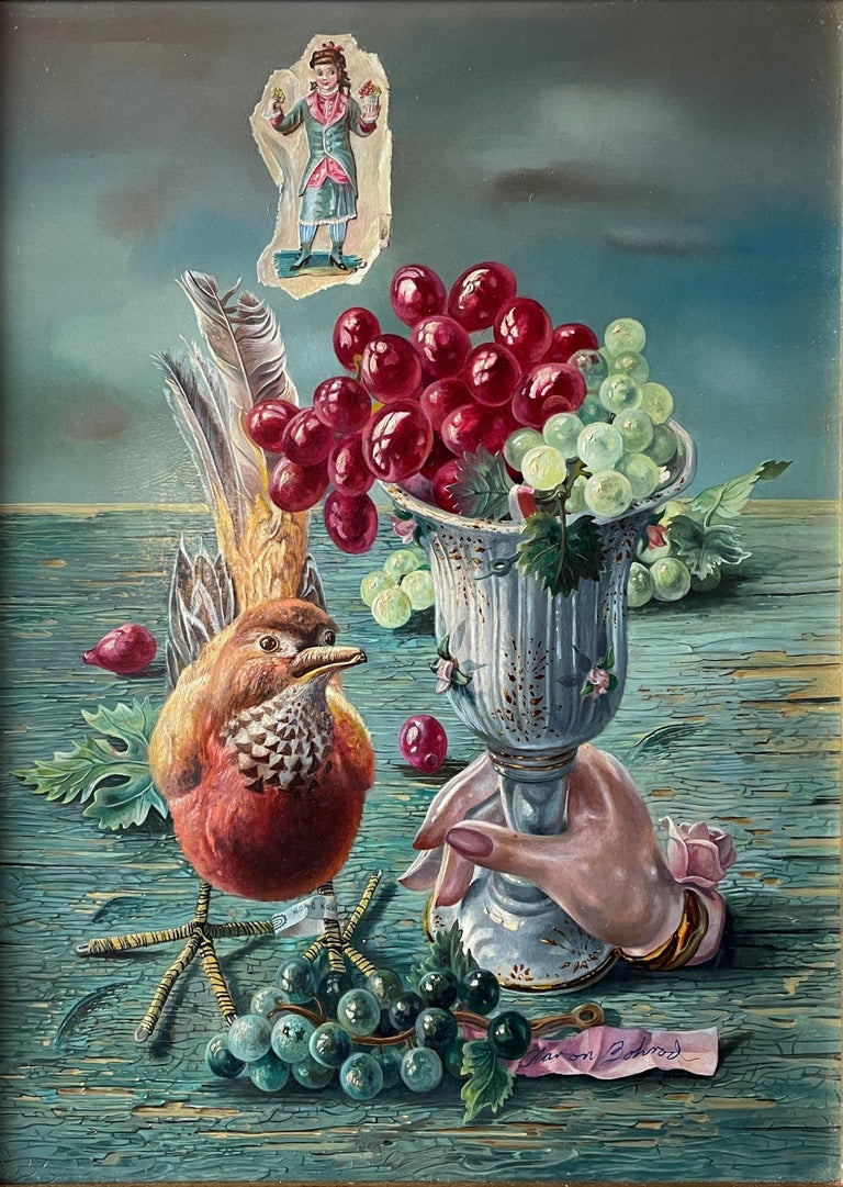"""""""Grapes with Asian Bird from Hong Kong,"""" Aaron Bohrod Whimsical Still Life - Painting by Aaron Bohrod"""