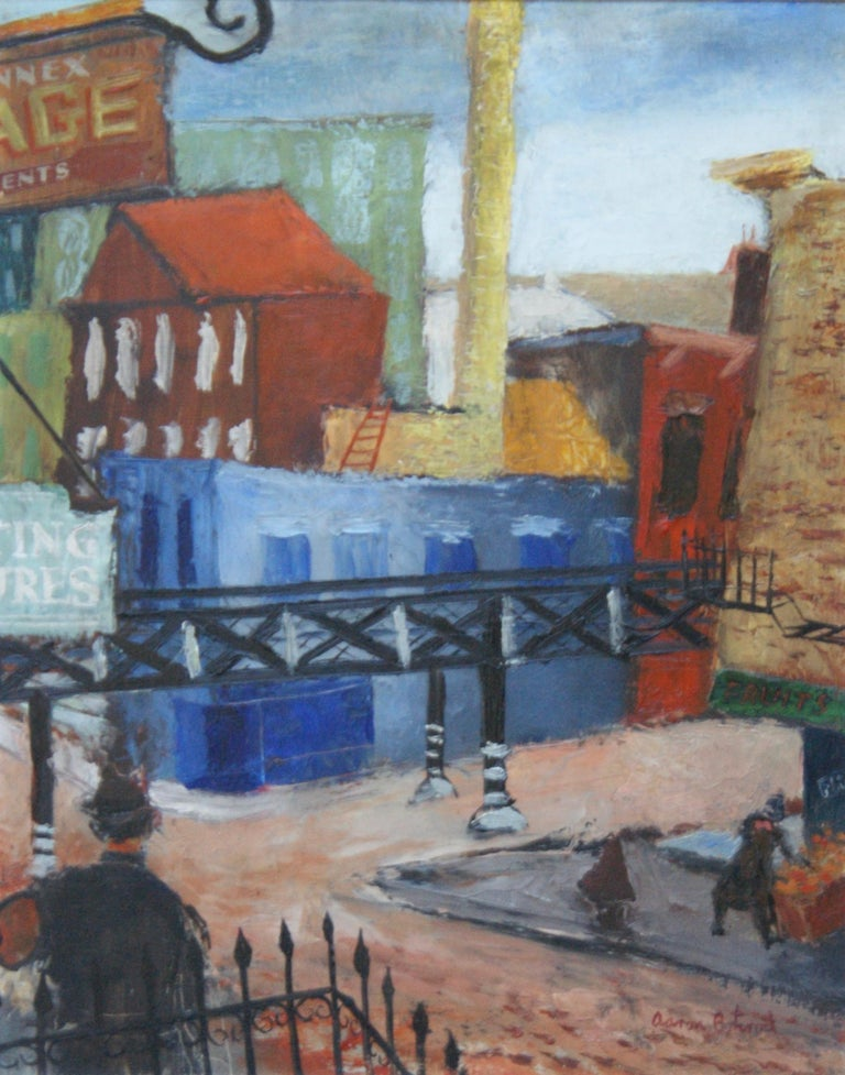 """Aaron Bohrod Figurative Painting - """"Industrial Cityscape, Chicago"""" WPA Modernism Mid-Century Cityscape 20th Century"""