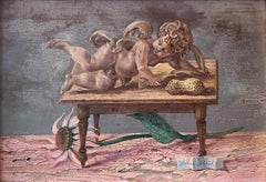 """Reclining Cherub, Sunflower, and Peanut,"" Aaron Bohrod, Whimsical Still Life"