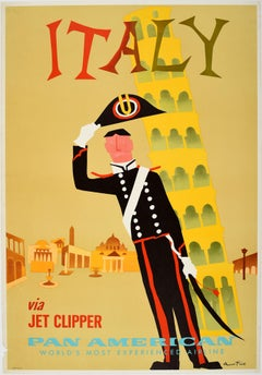 Vintage Mid Century Pan Am Poster Leaning Tower Of Pisa Italy Via Jet Clipper