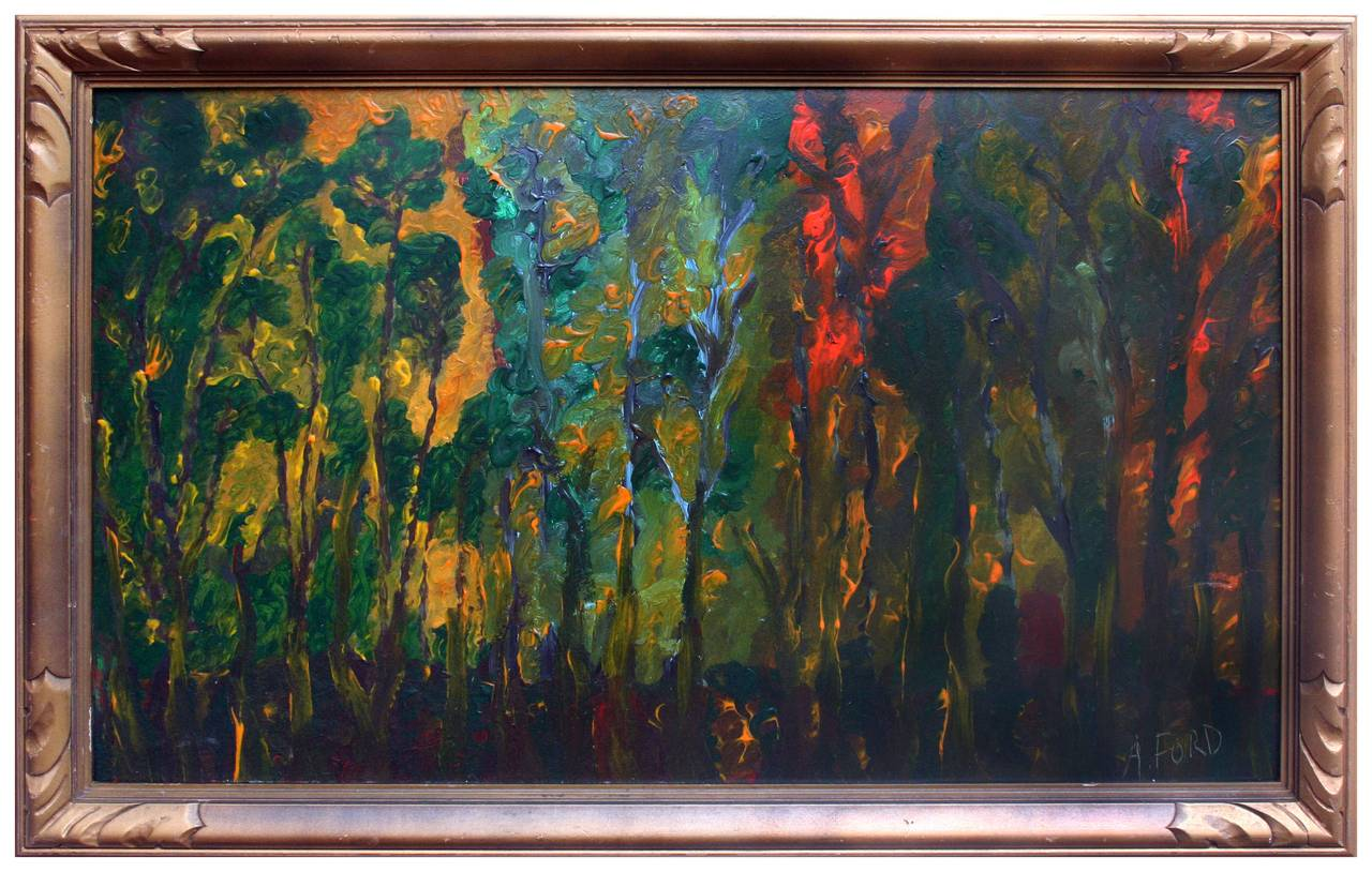 Mid Century Abstracted Eucalyptus Trees at Dawn's First Light