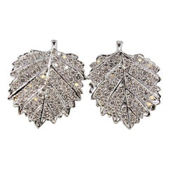 Aaron Henry Diamond Maple Leaf Pierced Earrings 18 Karat White Gold