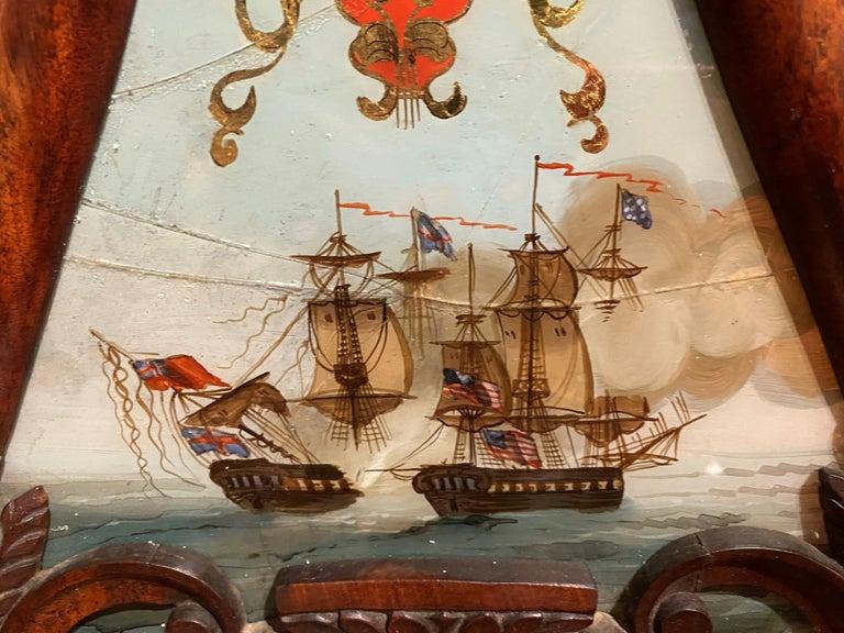 Aaron Willard Lyre Clock in Mahogany Case w/ Battling Tall Ships Eglomise Panel 4