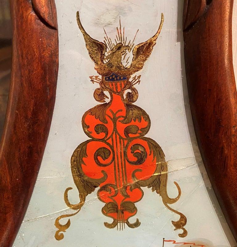 Aaron Willard Lyre Clock in Mahogany Case w/ Battling Tall Ships Eglomise Panel 5