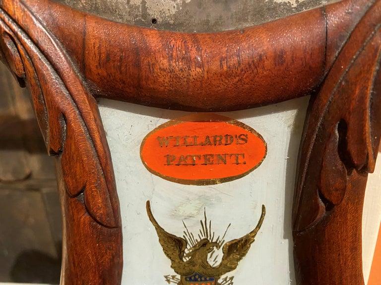 Aaron Willard Lyre Clock in Mahogany Case w/ Battling Tall Ships Eglomise Panel 6