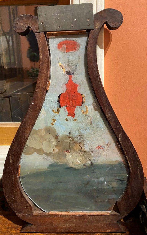 Aaron Willard Lyre Clock in Mahogany Case w/ Battling Tall Ships Eglomise Panel 7