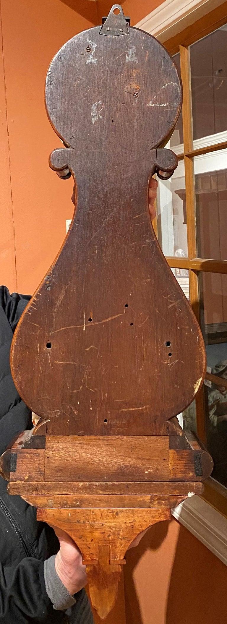Aaron Willard Lyre Clock in Mahogany Case w/ Battling Tall Ships Eglomise Panel 10