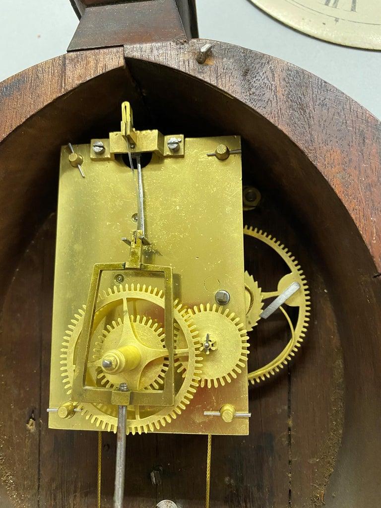 Aaron Willard Lyre Clock in Mahogany Case w/ Battling Tall Ships Eglomise Panel 12