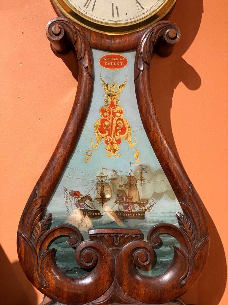 American Aaron Willard Lyre Clock in Mahogany Case w/ Battling Tall Ships Eglomise Panel
