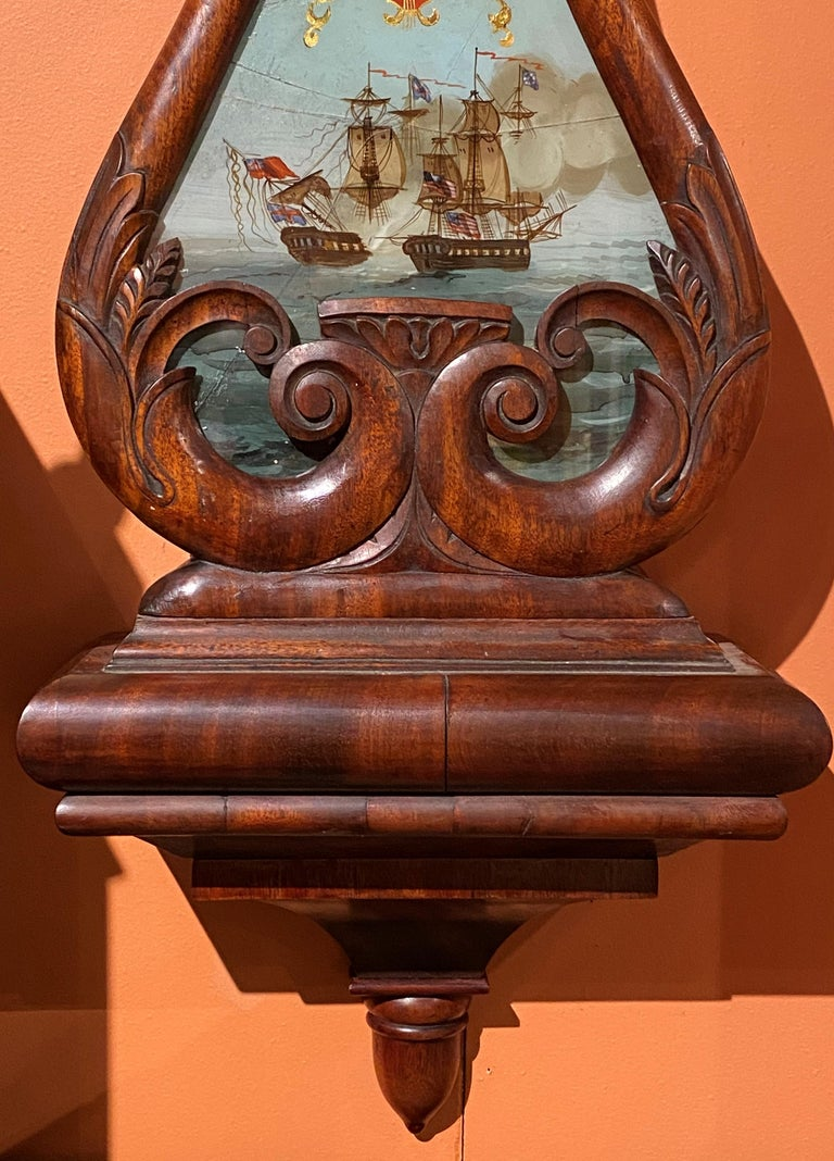 Hand-Carved Aaron Willard Lyre Clock in Mahogany Case w/ Battling Tall Ships Eglomise Panel