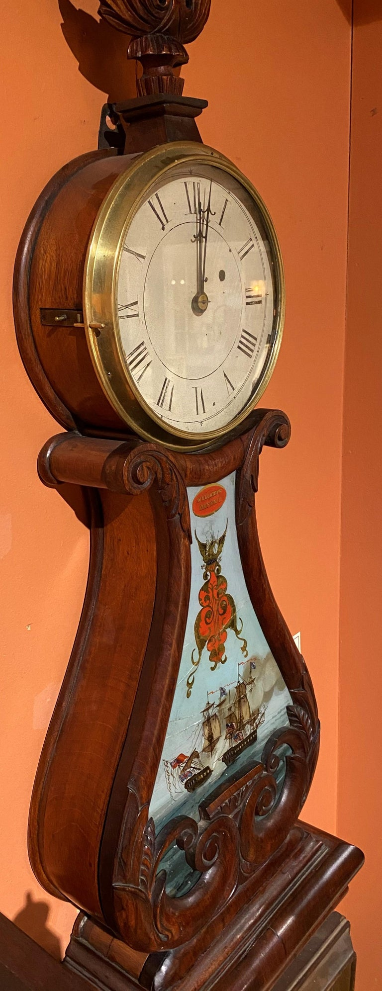 Aaron Willard Lyre Clock in Mahogany Case w/ Battling Tall Ships Eglomise Panel In Good Condition In Milford, NH