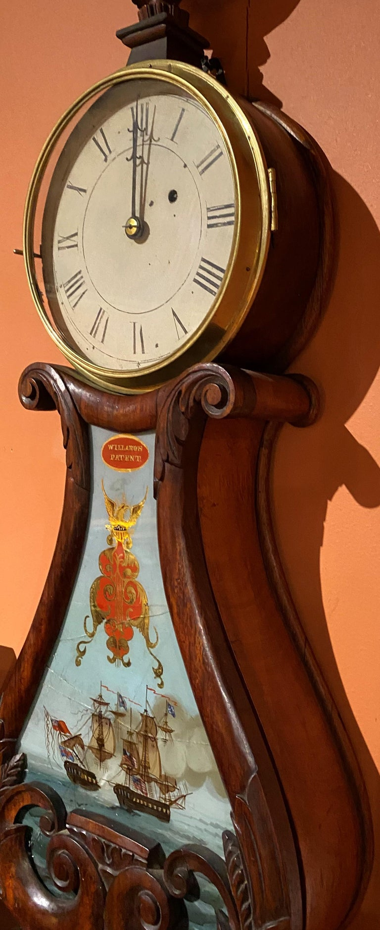 19th Century Aaron Willard Lyre Clock in Mahogany Case w/ Battling Tall Ships Eglomise Panel