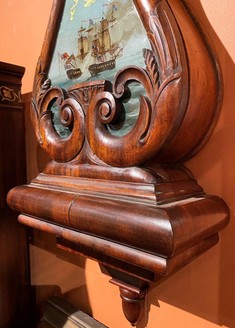 Brass Aaron Willard Lyre Clock in Mahogany Case w/ Battling Tall Ships Eglomise Panel