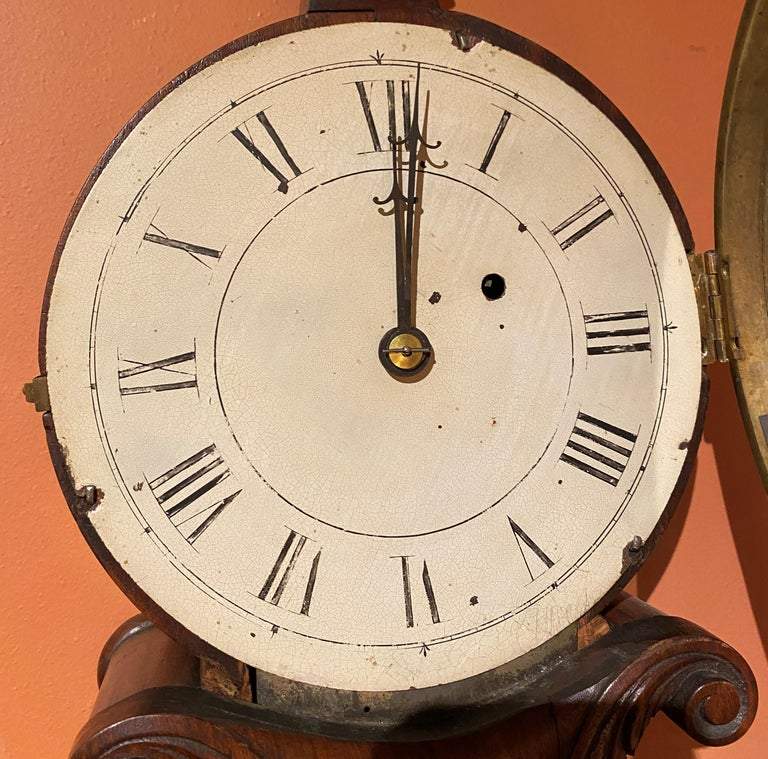 Aaron Willard Lyre Clock in Mahogany Case w/ Battling Tall Ships Eglomise Panel 1